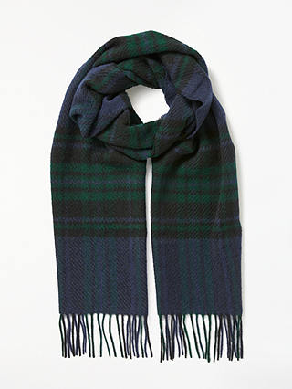 Buy Barbour Moons Lowerfell Lambswool Check Scarf, Navy/Green Online at johnlewis.com
