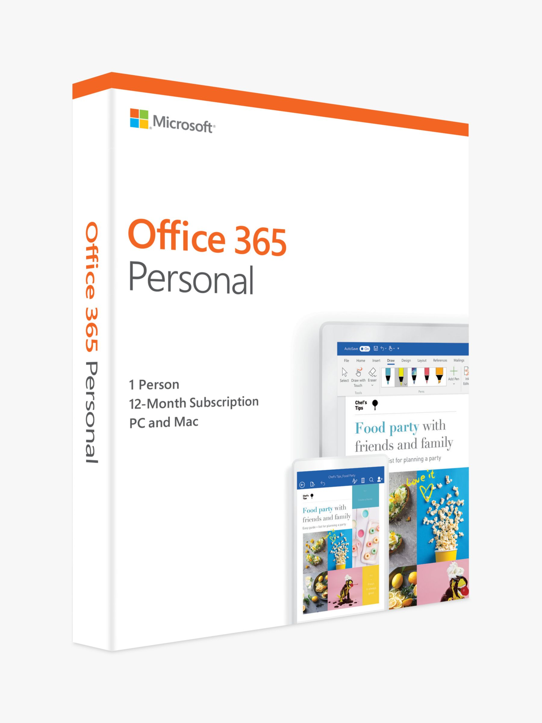 Microsoft Office 365 Personal, PC/Mac, Tablets and Smartphones, 1 User,  One-Year Subscription