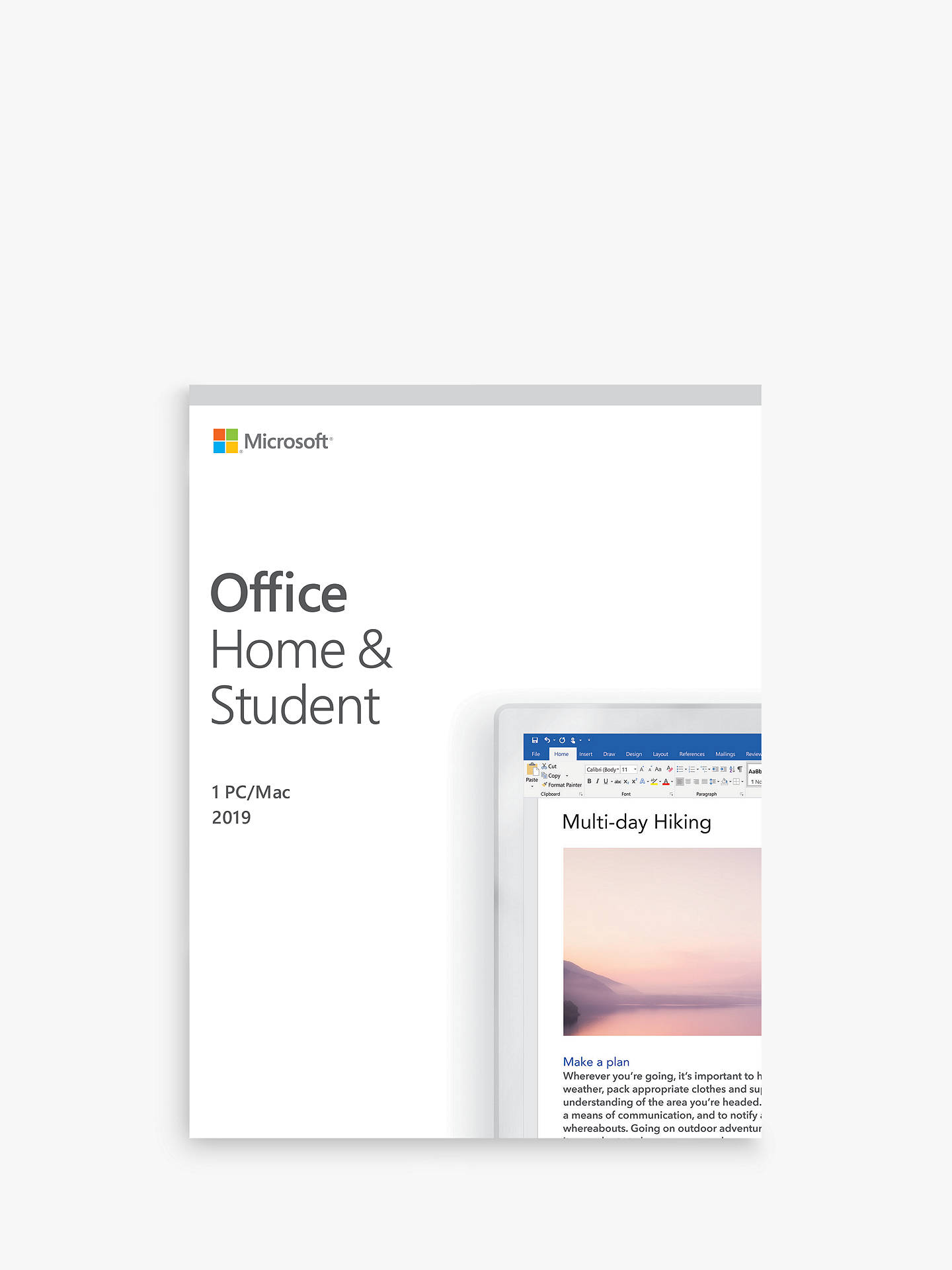 Microsoft Office Home and Student 2019, 1 PC, One-Off Payment, for Windows  10 and macOS
