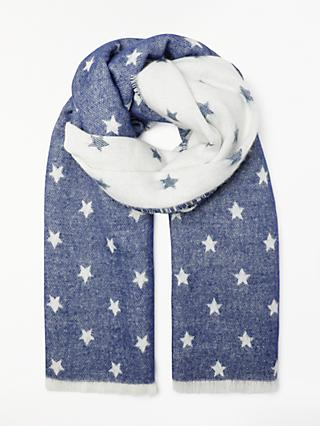 John Lewis & Partners Cashmink Star Wrap, Navy Mix