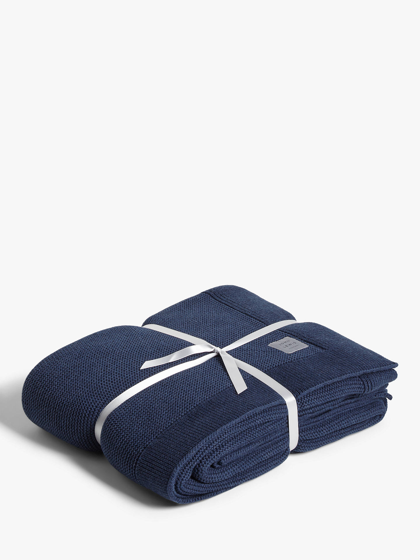 Buy John Lewis & Partners Rye Knit Throw, Navy Marl Online at johnlewis.com