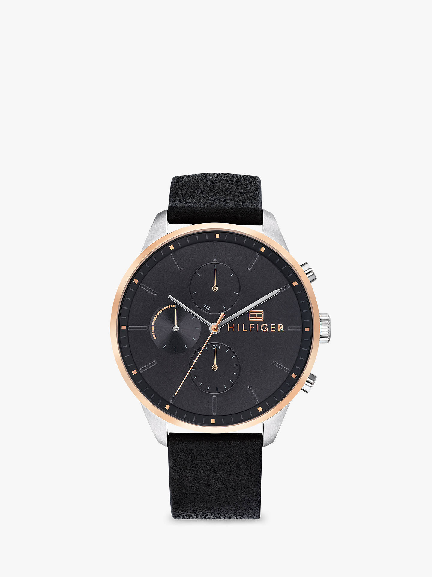 BuyTommy Hilfiger Men s Chase Chronograph Leather Strap Watch, Black  1791488 Online at johnlewis.com 704d180fe6