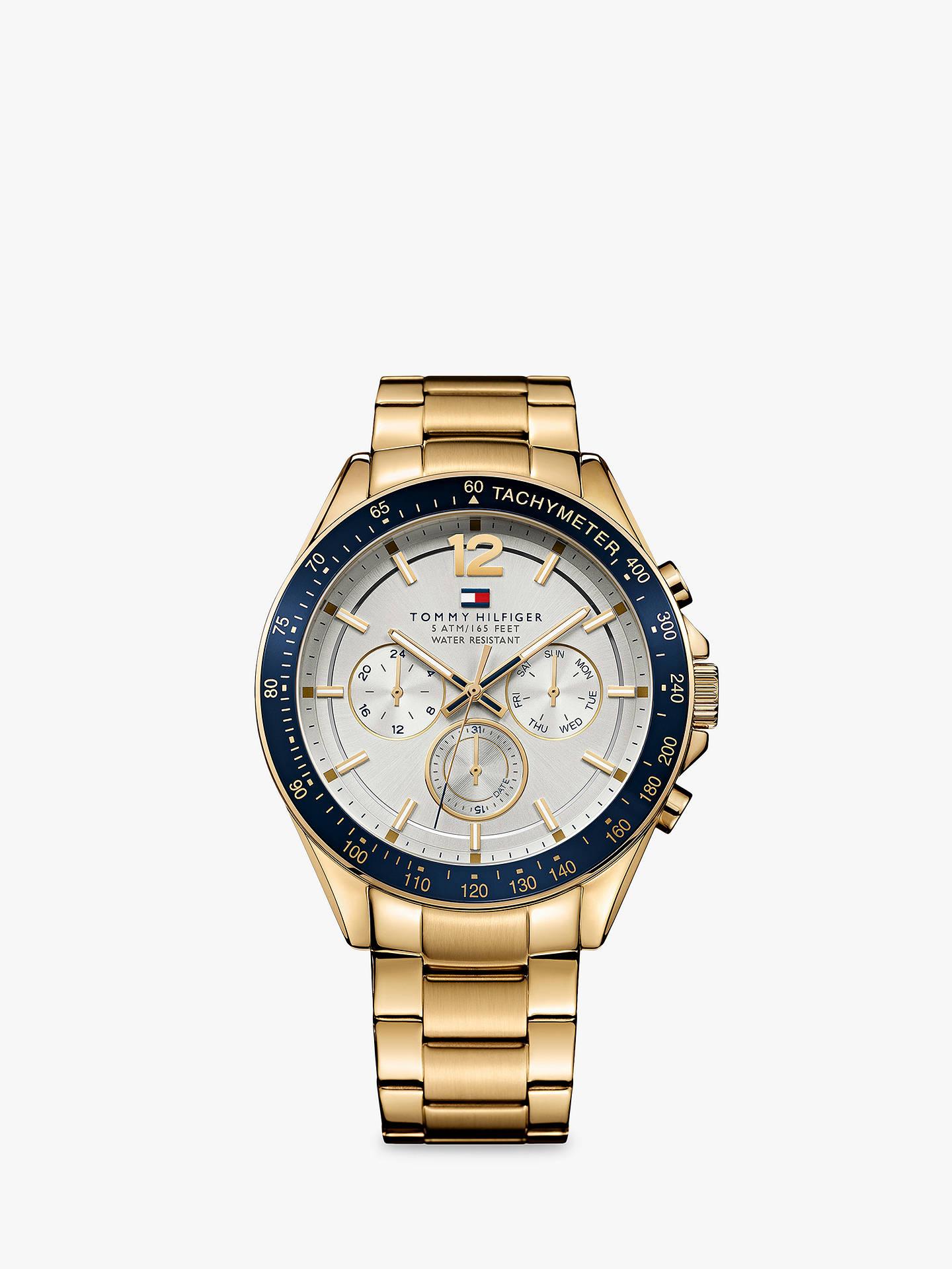 abec84de Buy Tommy Hilfiger 1791121 Men's Luke Chronograph Bracelet Strap Watch, Gold/Silver  Online at