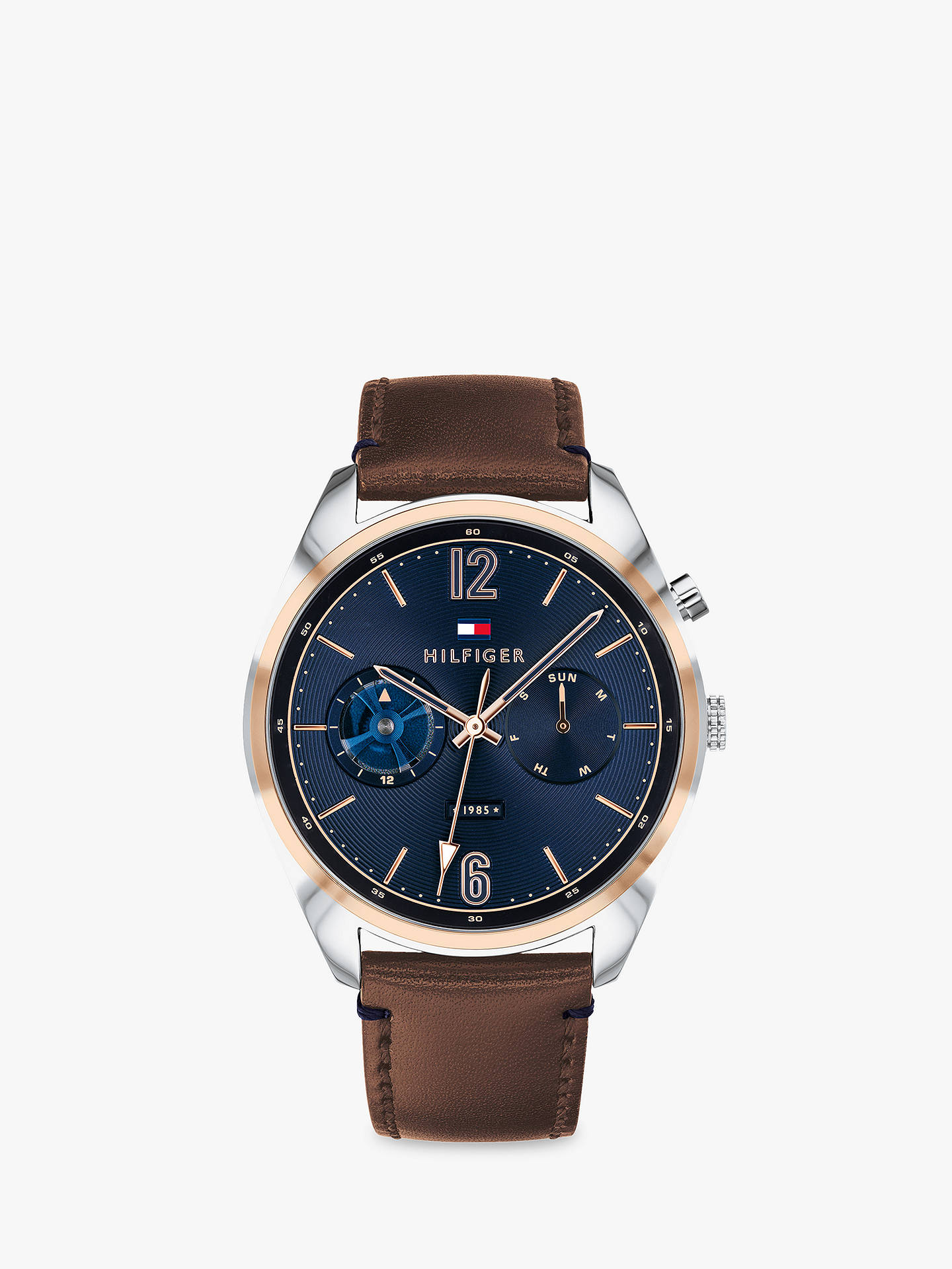BuyTommy Hilfiger 1791549 Men s Deacon Chronograph Day Leather Strap Watch,  Brown Blue Online at f5a9c3efdd