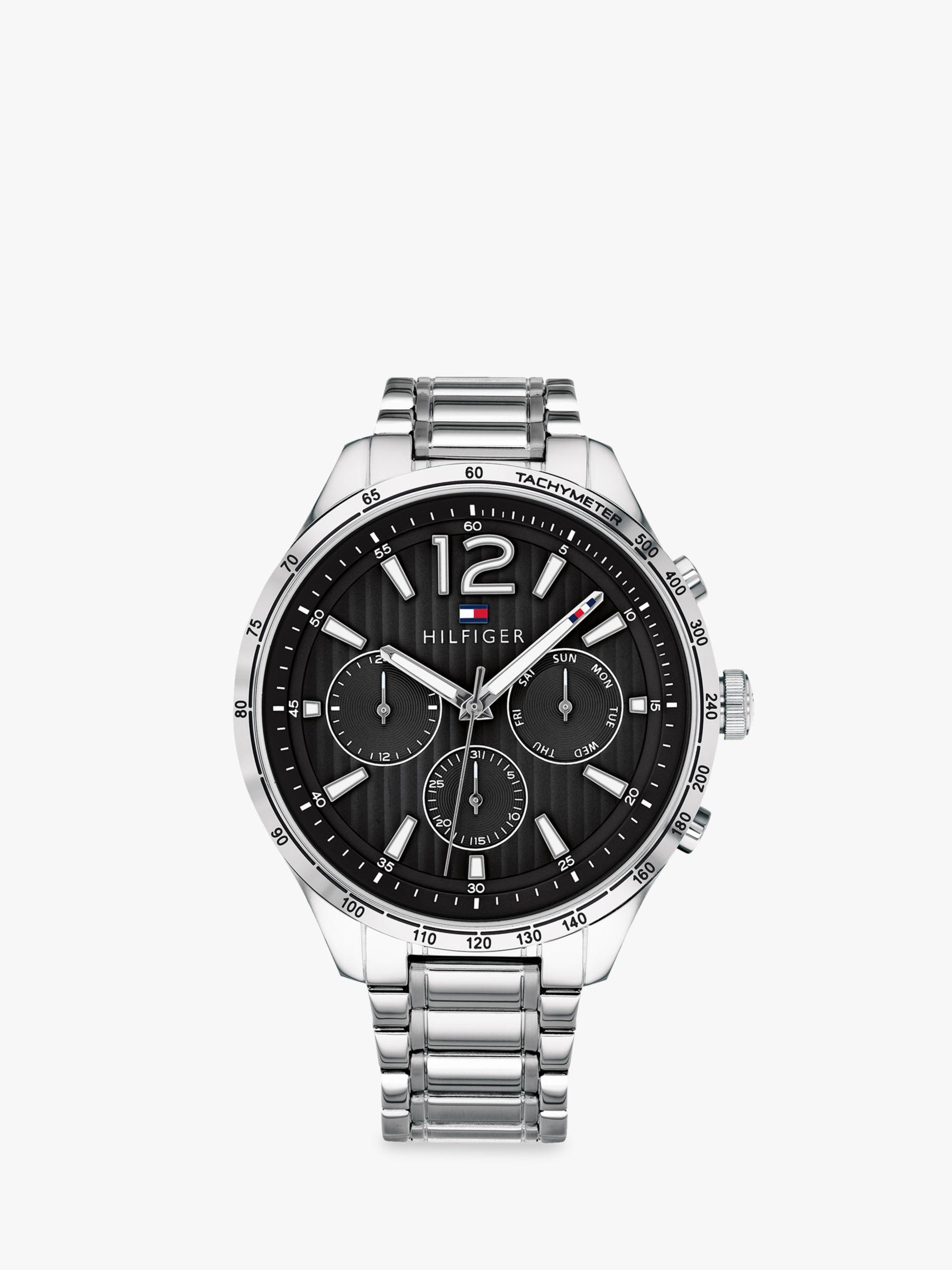 Tommy Hilfiger 1791469 Men s Gavin Chronograph Bracelet Strap Watch,  Silver Black at John Lewis   Partners 1b3c638053