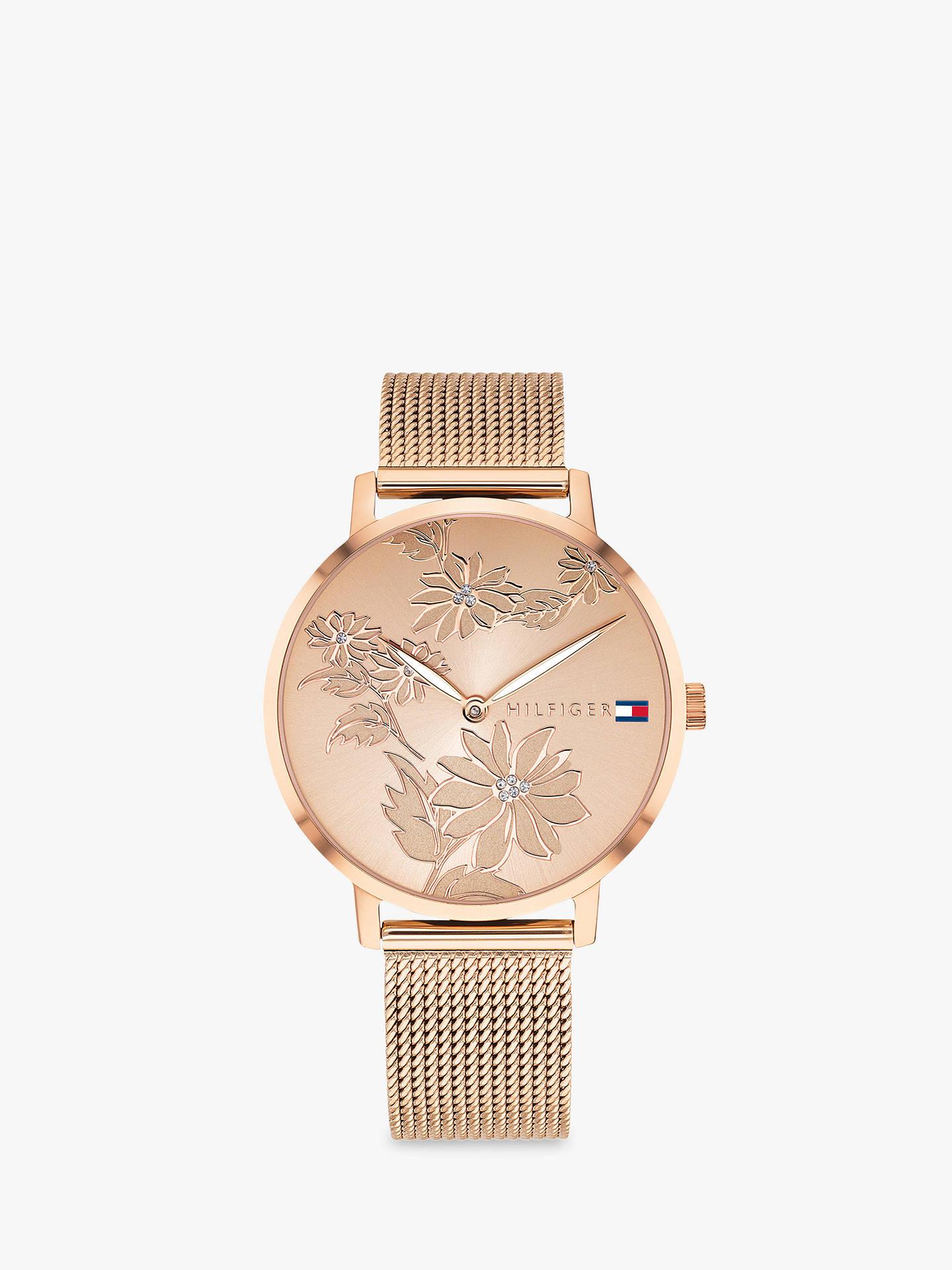 40b183db21 Buy Tommy Hilfiger Women's Pippa Floral Dial Mesh Bracelet Strap Watch, Rose  Gold 1781922 Online