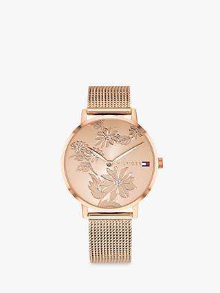 43edf15eb3e Tommy Hilfiger Women s Pippa Floral Dial Mesh Bracelet Strap Watch
