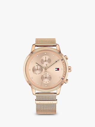 c228c7b0 Tommy Hilfiger 1781907 Women's Blake Chronograph Mesh Bracelet Strap Watch, Rose  Gold