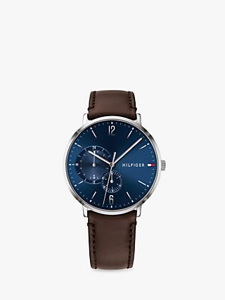 Tommy Hilfiger 1791508 Men's Brooklyn Leather Strap Watch, Brown/Blue