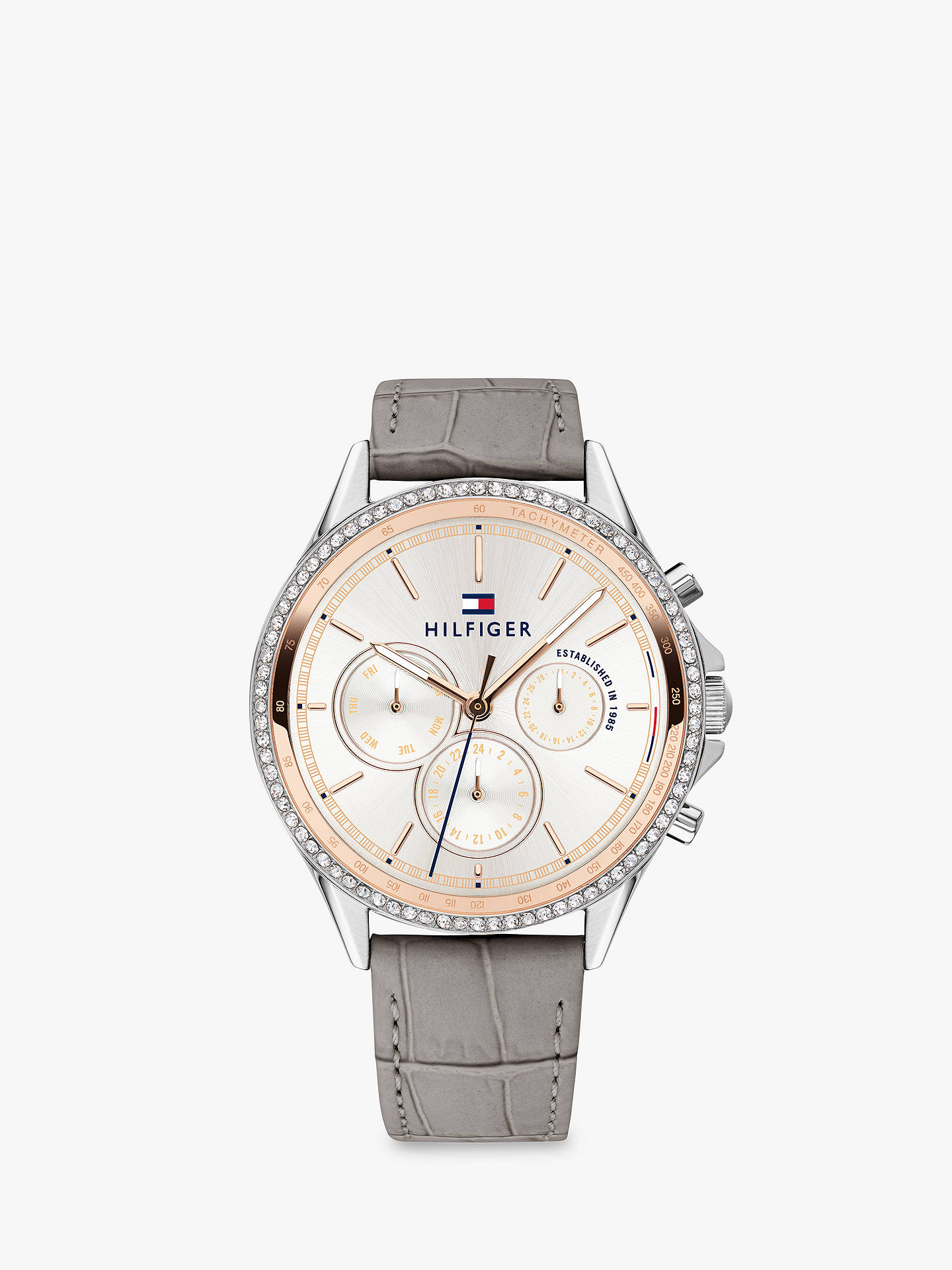 2b866c700 Buy Tommy Hilfiger 1781980 Women's Ari Chronograph Crystal Leather Strap  Watch, Grey/White Online