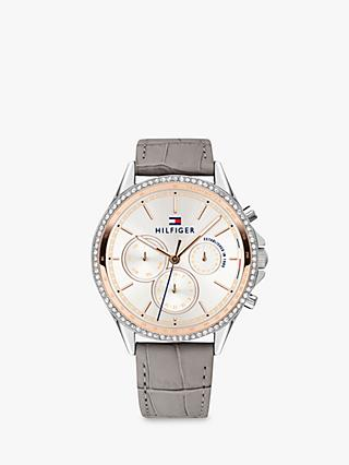 Tommy Hilfiger 1781980 Women's Ari Chronograph Crystal Leather Strap Watch, Grey/White