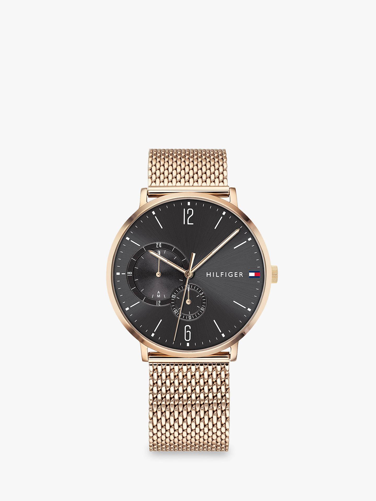 748f84df Buy Tommy Hilfiger 1791506 Men's Brooklyn Mesh Bracelet Strap Watch,  Gold/Grey Online at