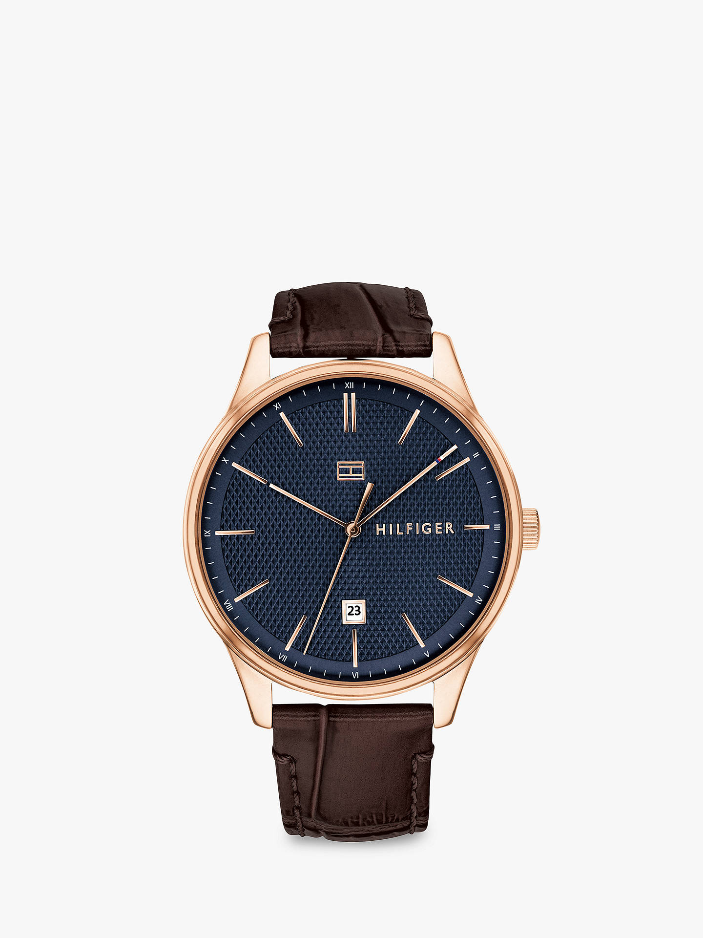 16bfecbe Buy Tommy Hilfiger 1791493 Men's Damon Date Leather Strap Watch, Brown/Blue  Online at