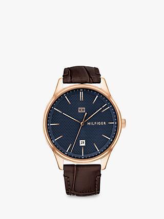 0ff4d32e9815 Tommy Hilfiger 1791493 Men s Damon Date Leather Strap Watch