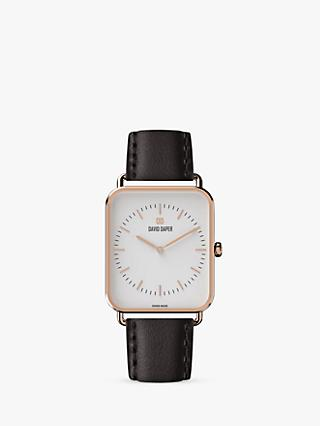 David Daper Women's Rectangular Leather Strap Watch