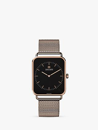 David Daper Women's Rectangular Mesh Bracelet Strap Watch