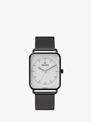 David Daper Unisex Rectangular Mesh Bracelet Strap Watch
