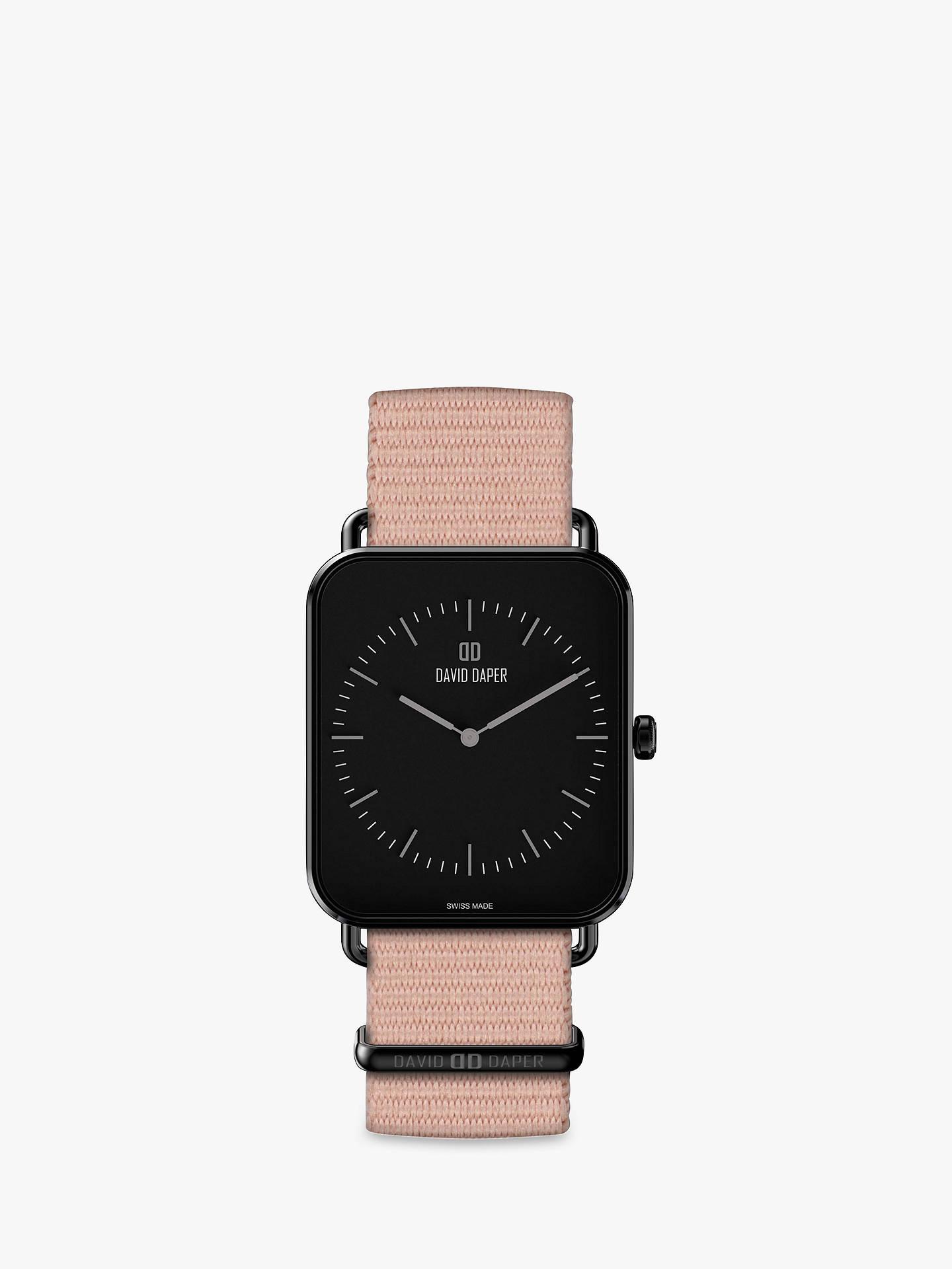 BuyDavid Daper Women s Rectangular Fabric Strap Watch Pink Black 01BL02N01 line at johnlewis