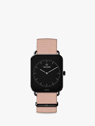 David Daper Women's Rectangular Fabric Strap Watch