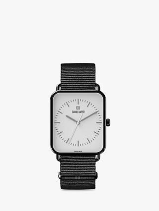 David Daper Unisex Rectangular Fabric Strap Watch