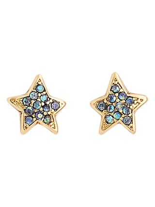 crewcuts by J.Crew Girls' Crystal Stud Earrings, Gold/Blue