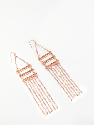 John Lewis & Partners Long Chain Hook Drop Earrings, Rose Gold