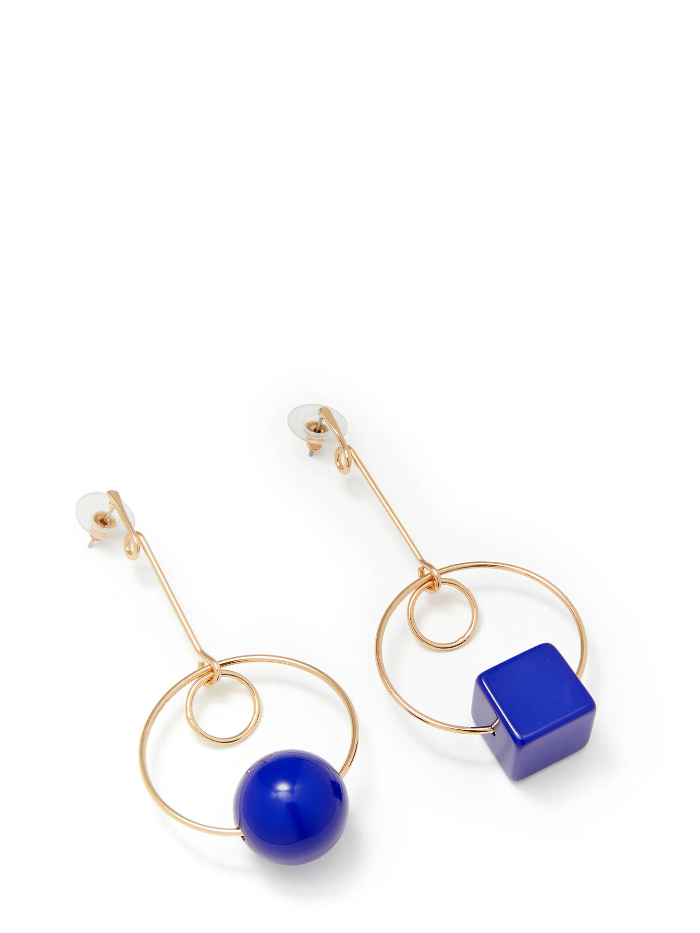 John Lewis Partners Geometric Shape Resin Drop Earrings Gold Blue