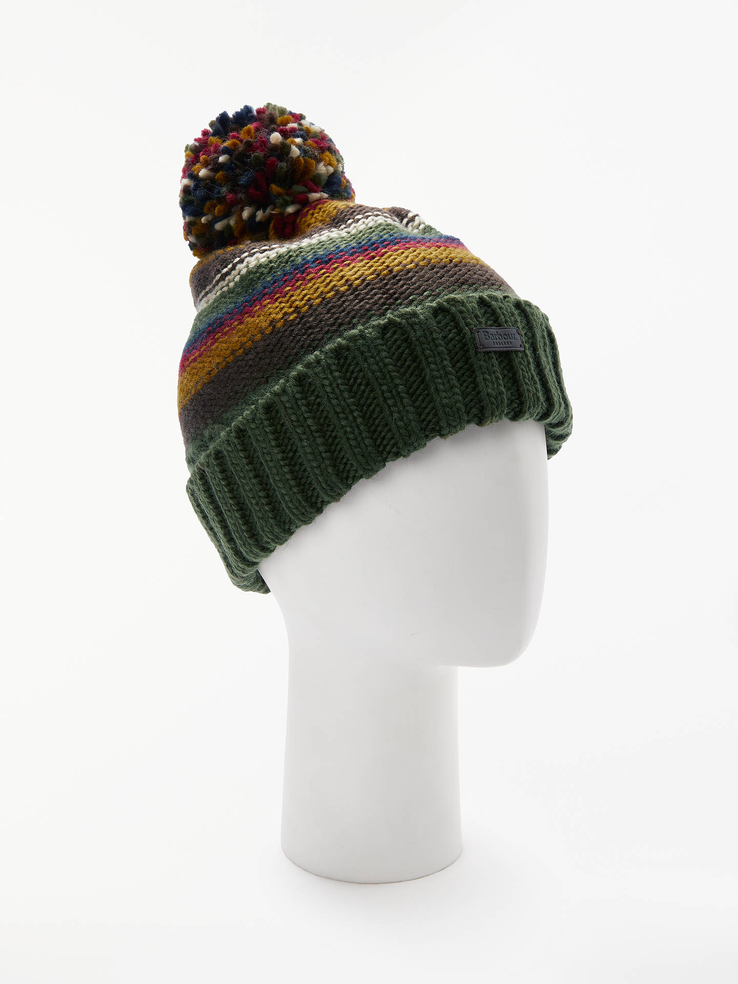 BuyBarbour Harrow Stripe Beanie, One Size, Olive Online at johnlewis.com