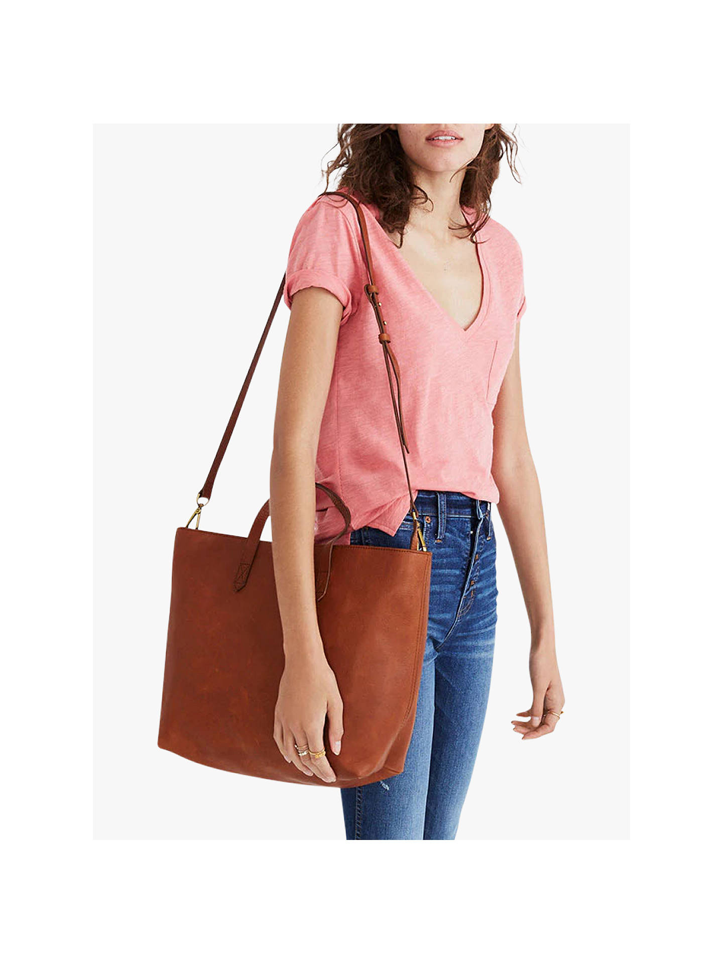 1555d207c0 Madewell Leather Transport Zip Top Carryall Tote Bag at John Lewis ...