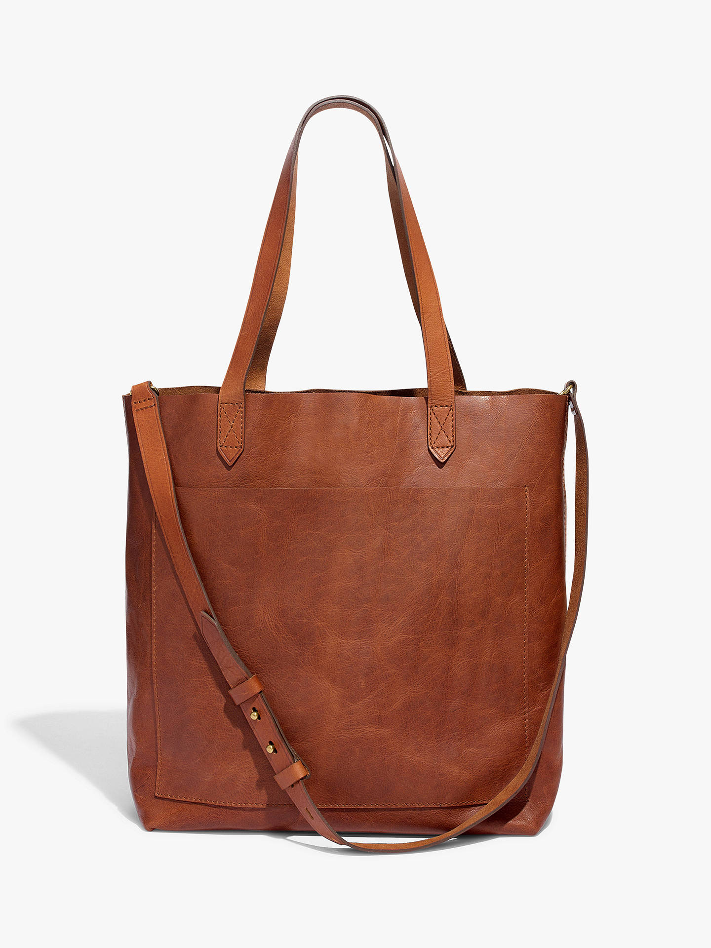 21aa972c4e82 Buy Madewell Leather Medium Transport Tote Bag, English Saddle Online at  johnlewis.com ...