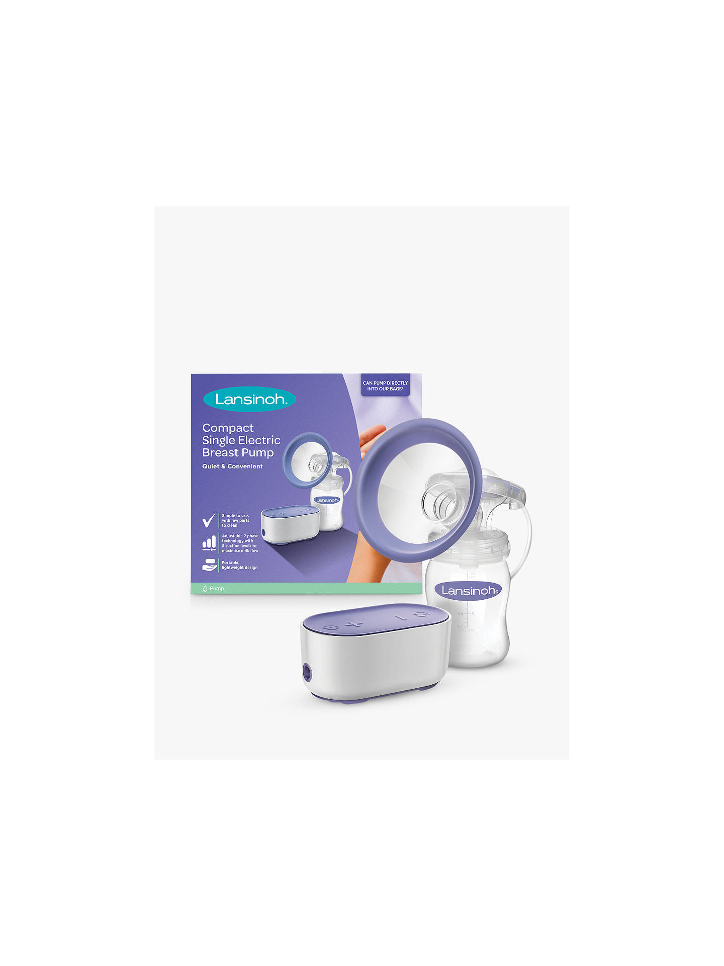 Buy Lansinoh Compact Single Electric Breast Pump Online at johnlewis.com
