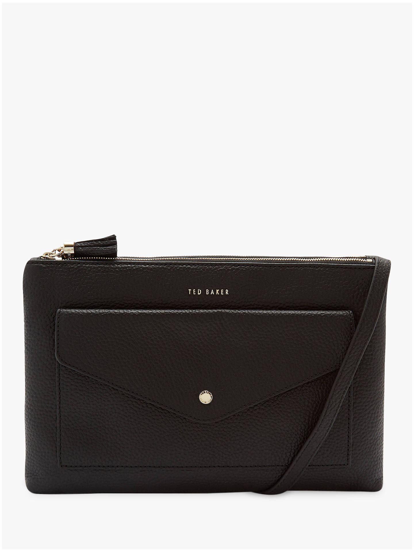 Buy Ted Baker Marllie Leather Double Zip Cross Body Bag, Black Online at johnlewis.com