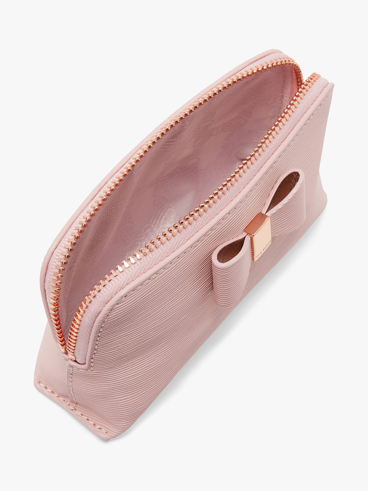 Buy Ted Baker Chlolou Leather Bow Makeup Bag, Light Pink Online at johnlewis.com