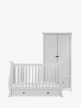 Silver Cross Nostalgia Sleigh Cotbed and Wardrobe, Dove Grey