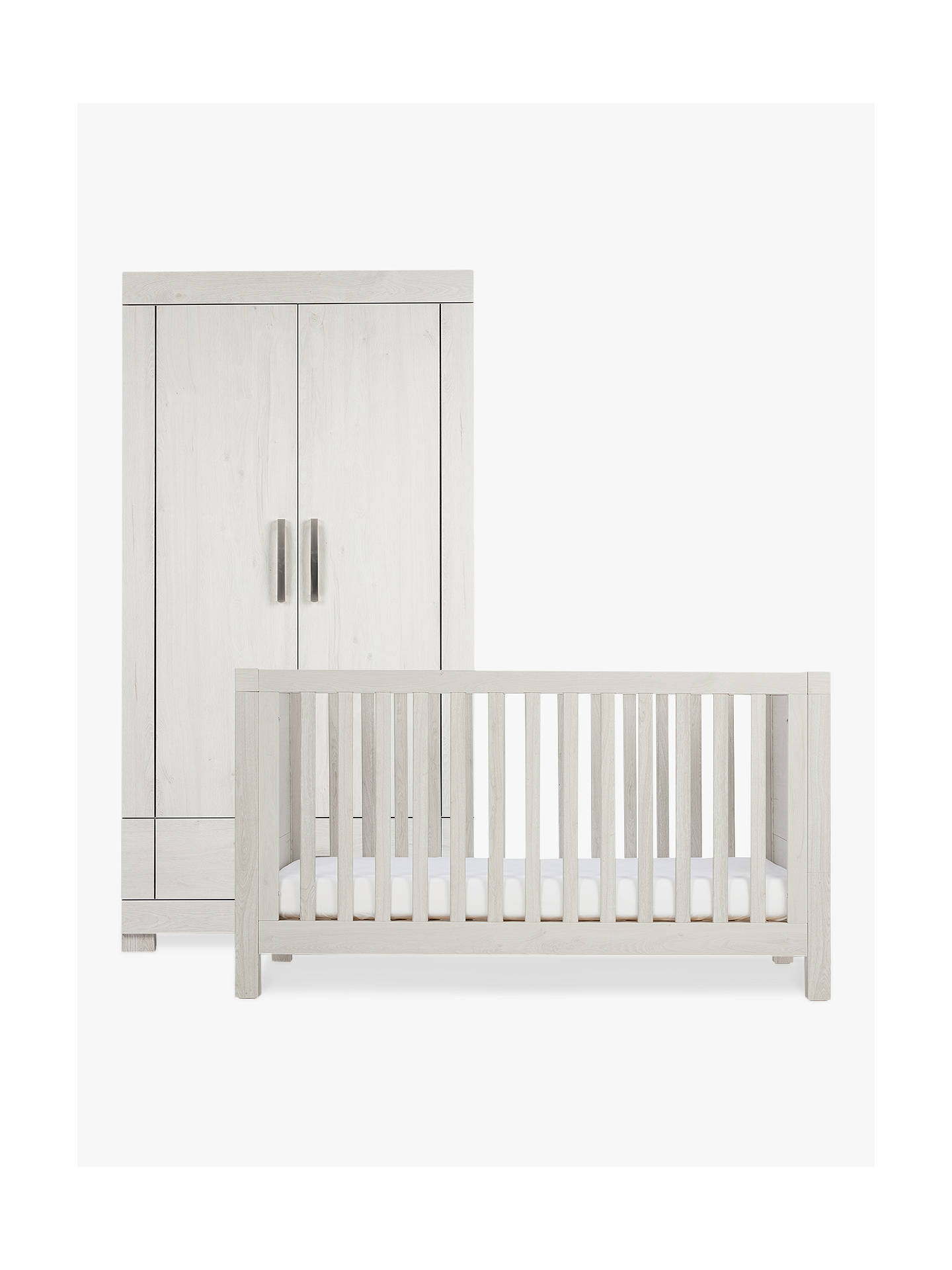BuySilver Cross Coastline Cotbed and Wardrobe, Textured Washed Oak Online at johnlewis.com
