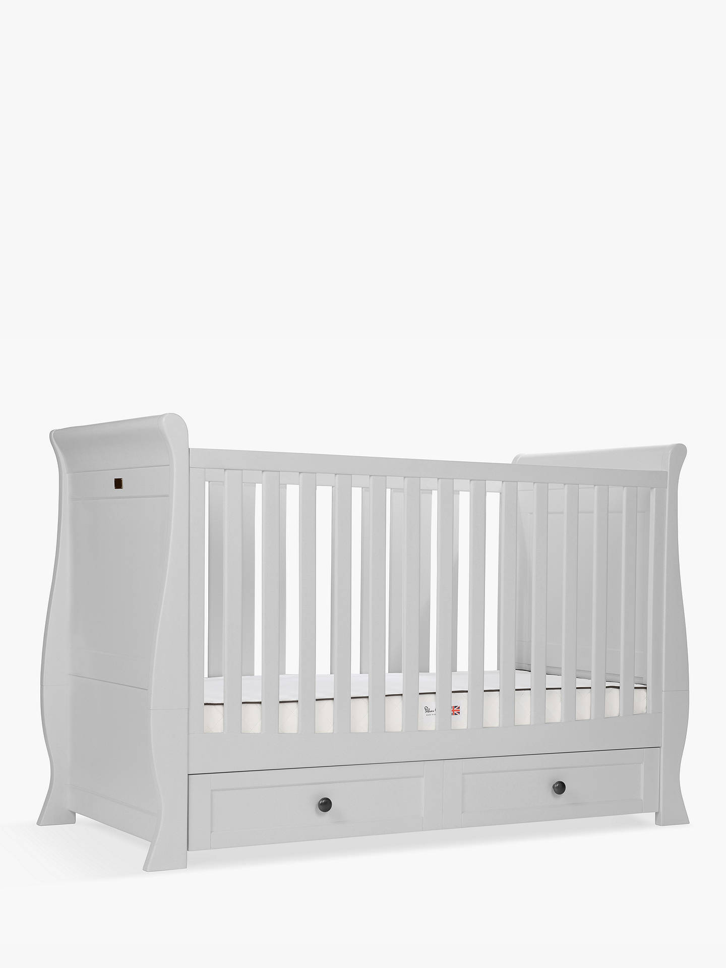 BuySilver Cross Nostalgia Sleigh Cotbed and Dresser, Dove Grey Online at johnlewis.com