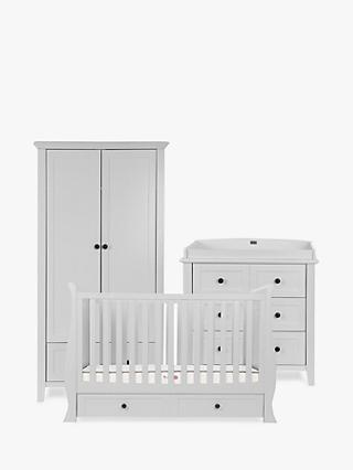 Silver Cross Nostalgia Sleigh Cotbed, Dresser and Wardrobe, Dove Grey