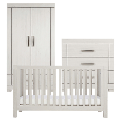 Silver Cross Coastline Cotbed, Dresser and Wardrobe, Textured Washed Oak