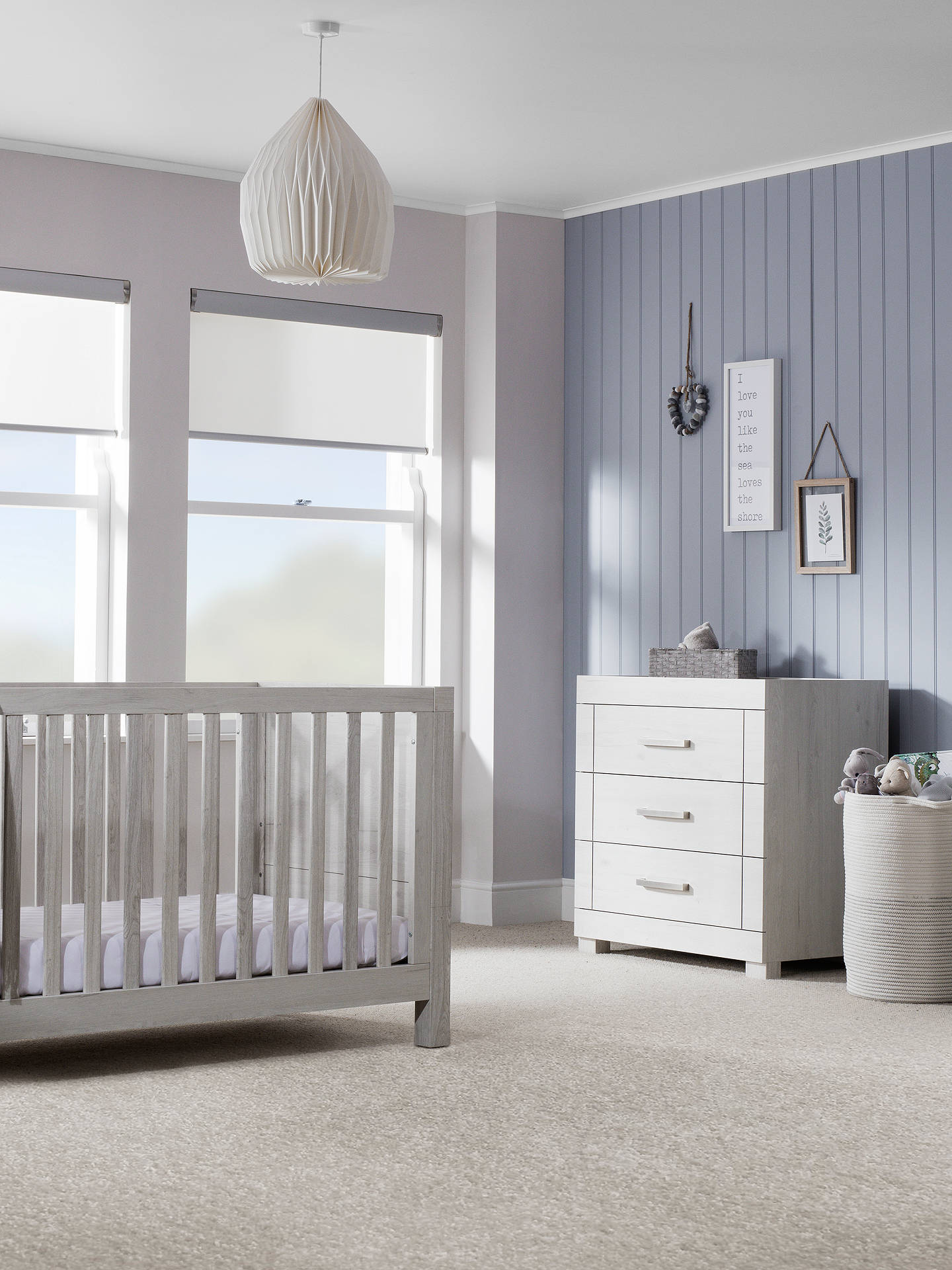 BuySilver Cross Coastline Cotbed, Dresser and Wardrobe, Textured Washed Oak Online at johnlewis.com