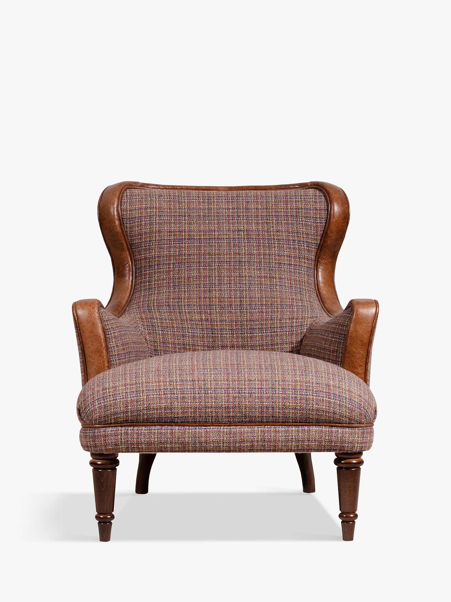 Tetrad Harris Tweed Cavendish Armchair Calluna Bramble With Brompton Leather Trim Online At Johnlewis