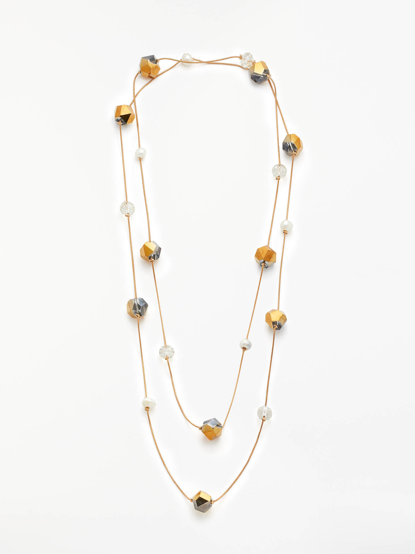 Buy John Lewis & Partners Crystal and Freshwater Pearl Long Chain Necklace, Gold Online at johnlewis.com