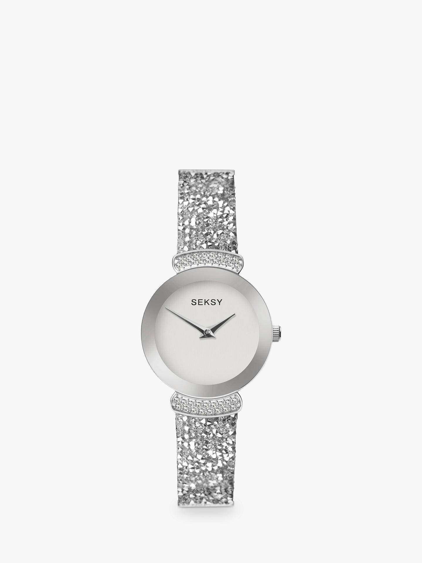 BuySekonda Women's Seksy Swarovski and Rock Crystal Leather Strap Watch, Silver/White 2721.37 Online at johnlewis.com