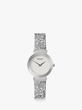 Sekonda Women's Seksy Swarovski and Rock Crystal Leather Strap Watch