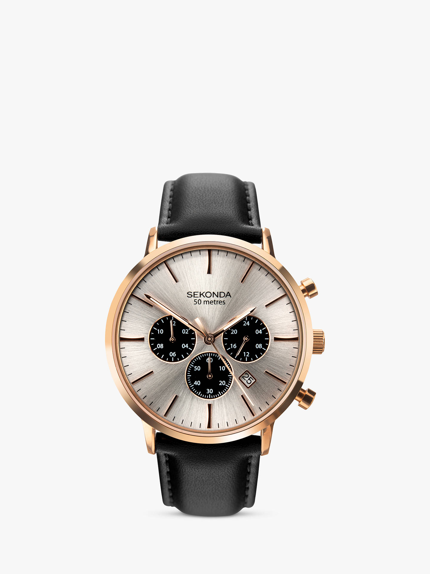 BuySekonda 1657.27 Men's Chronograph Date Leather Strap Watch, Black/Silver Online at johnlewis.com