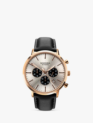 Buy Sekonda 1657.27 Men's Chronograph Date Leather Strap Watch, Black/Silver Online at johnlewis.com