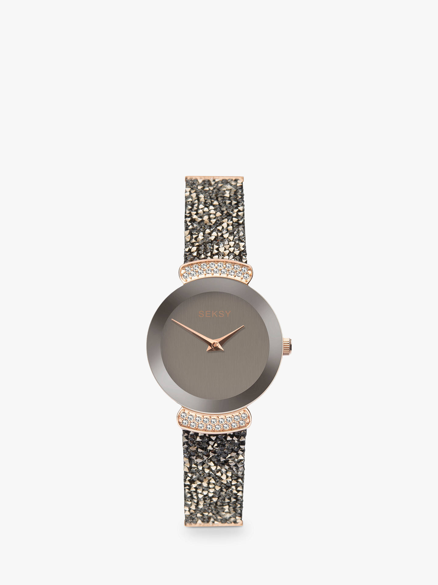 BuySekonda Women's Seksy Swarovski and Rock Crystal Leather Strap Watch, Black/Grey 2719.37 Online at johnlewis.com