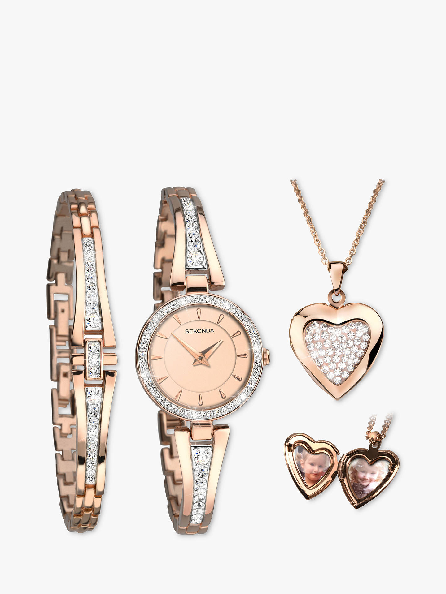 91836ac946dd6 Buy Sekonda 2533G.76 Women's Crystal Locket Pendant Bangle and Bracelet  Strap Watch Gift Set ...