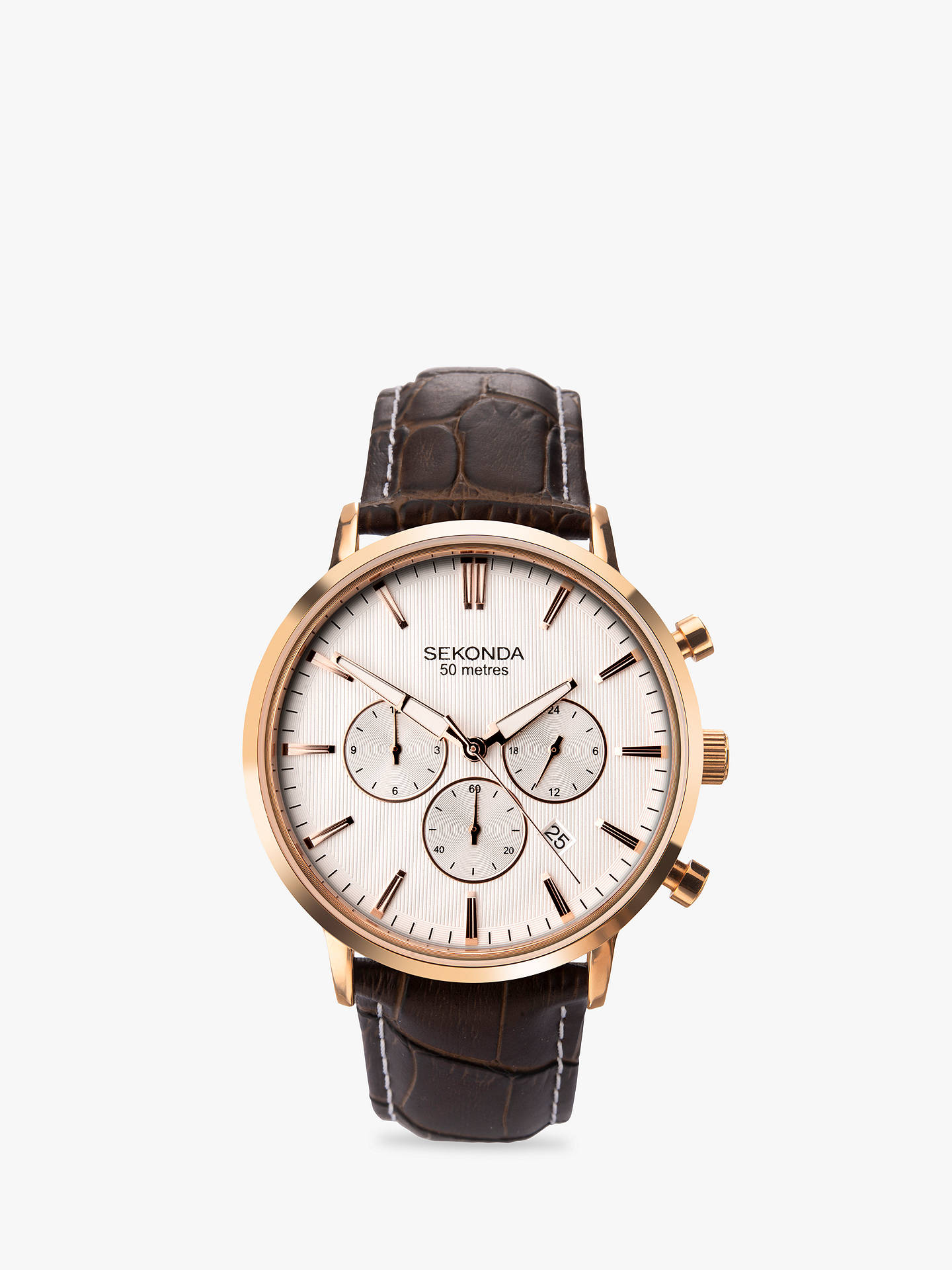BuySekonda 1668.27 Men's Chronograph Date Leather Strap Watch, Brown/White Online at johnlewis.com