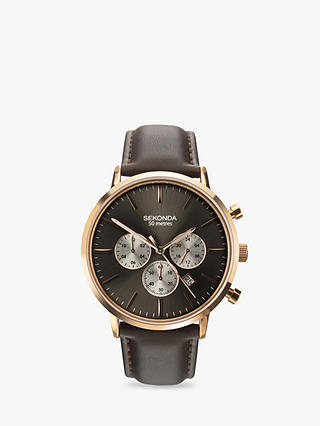 Buy Sekonda 1659.27 Men's Chronograph Leather Strap Watch, Brown Online at johnlewis.com