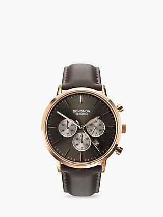 Sekonda 1659.27 Menu0027s Chronograph Leather Strap Watch, Brown